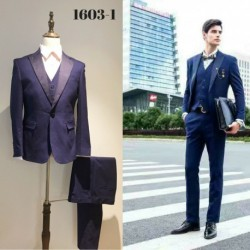Groom's Slim Cut Royal Blue 3-Piece Suit