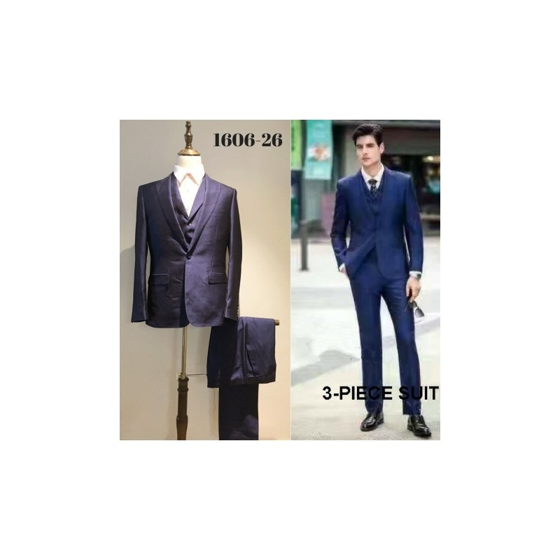 Groom S Slim Cut Dark Blue 3 Piece Suit Loading Zoom