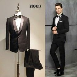 Korean Style Groom's Black Tuxedo 2 Piece Suit