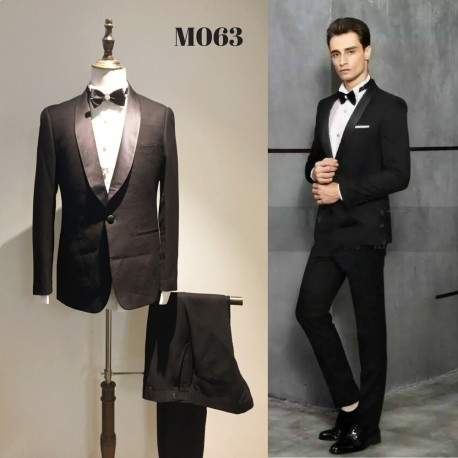 Korean Style Groom's Black Tuxedo 4-Piece Suit