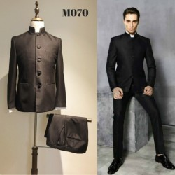 Korean Style Groom's Black Chinese Style 2 Piece Suit