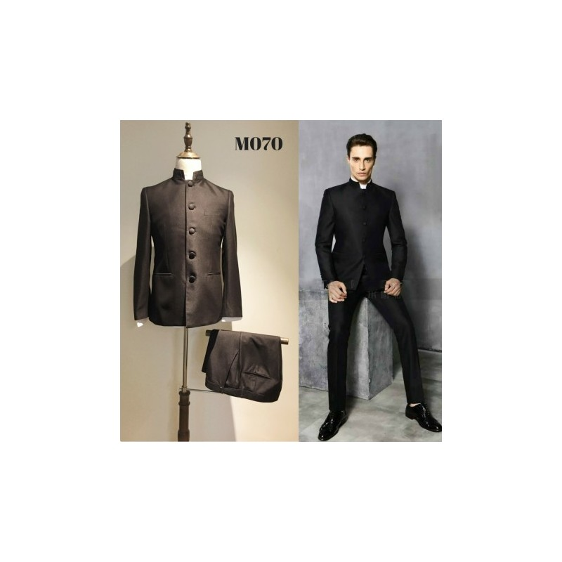 Korean Style Groom\'s Black Chinese Style 2 Piece Suit | Fashion