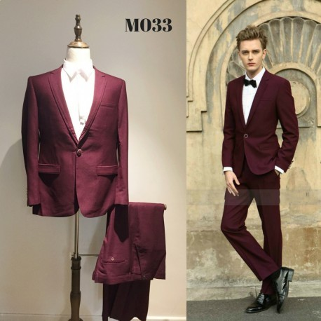 Korean Style Groom's Maroon 4-Piece Suit