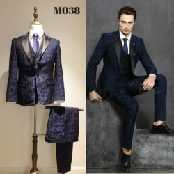 Korean Style Groom's Navy Blue Floral 2 Piece Suit