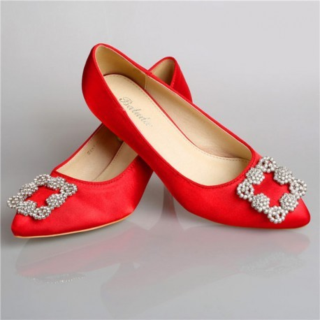 Vintage Red Bridal Low Pointed Toe Pumps