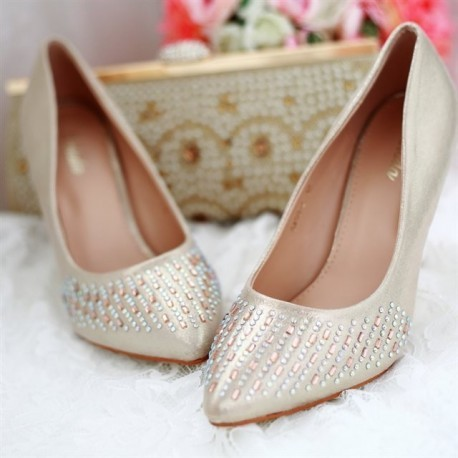 Luxury Metalic Bridal Low Pointed Toe Pumps