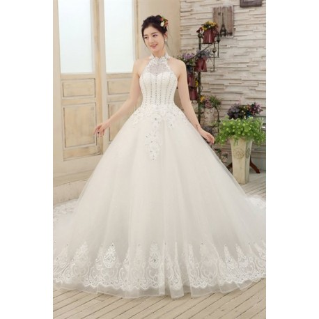 2016 New Arrival Luxury Vintage Diamante Halter Long-Tailed Wedding Dress