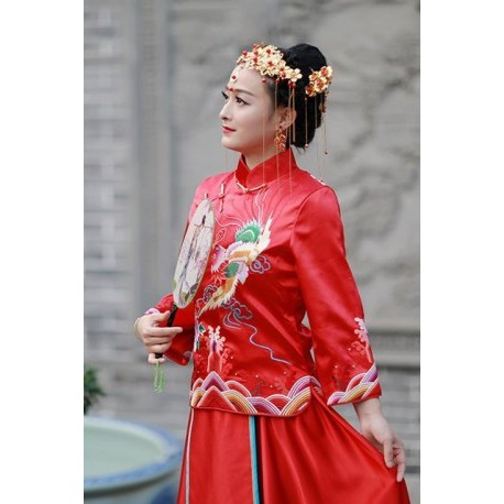 Chinese Traditional Vintage Cheongsam Dragon & Phoenix Wedding Dress