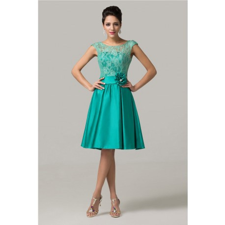 Chic Sleeveless Lace Green Bridesmaid Dress
