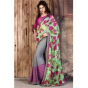 Grey And Green Partywear Georgette Printed Saree With Blouse