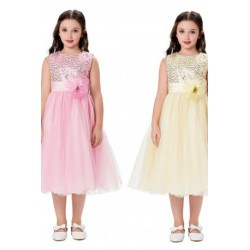 Sweet Floral Sequined Satin Flowergirl Dress (6 Colors)