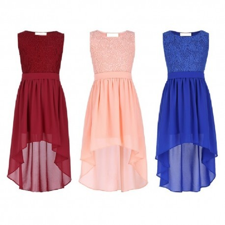 Duo-Length Lace Chiffon Classic Flowergirl Dress (3 Colors)