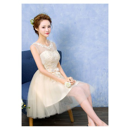 2017 New Spring & Summer Princess Style Sheer Sleveeless Bridesmaid Dress