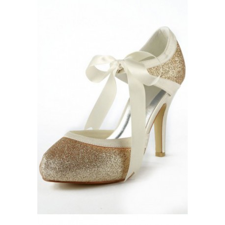 White Ribbon Wedding Shoes