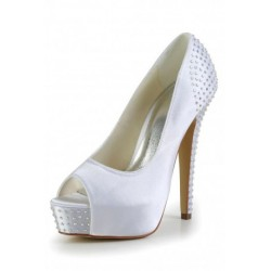 Classic Peep-Toe Wedding Shoes