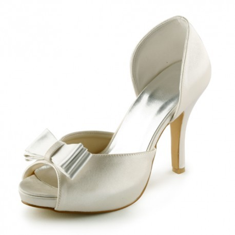Ribbon Open-Toe Wedding Shoes