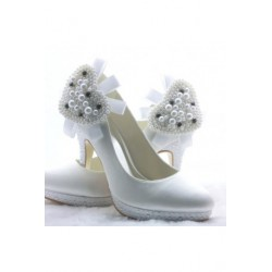 Heart Pearl Platform Shoes
