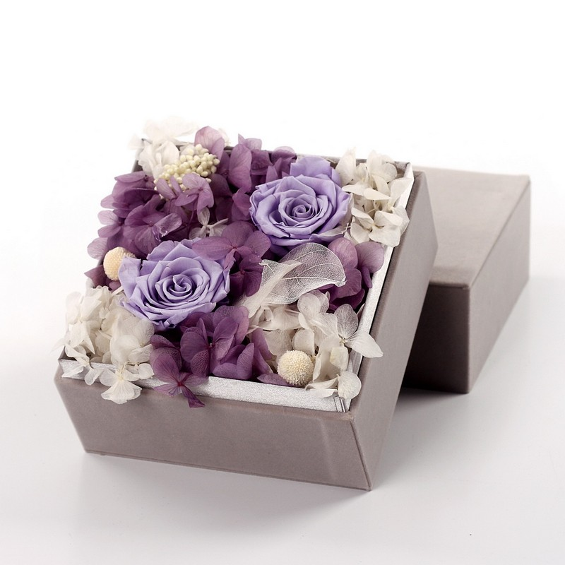 Rose Flower Square Grey Velvet Box
