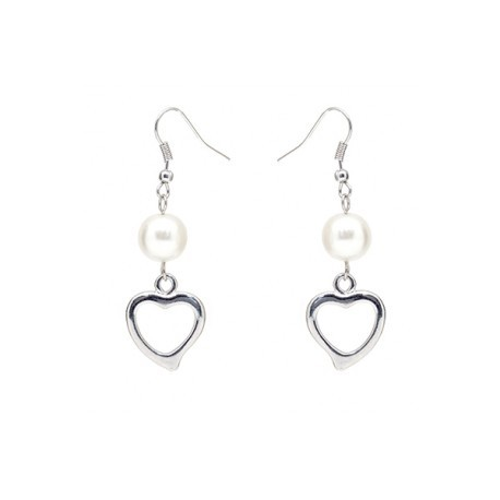 Heart Swarosvki Pearl Hook Earrings Crafted by Angie
