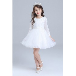 Elegant Long Sleeve Soft Top Flower Girl Dress