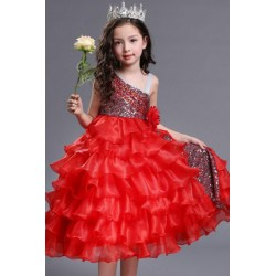 One Shoulder Organza Kids Pageant Princess Ball Red Gown