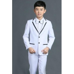Luxury 5Pcs Little Boy/Man Coat Vest Set with Tie- White