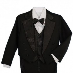 Boys' 5 Pieces Formal Gold Vest Tuxedo Suit With Tail Christening Outfit