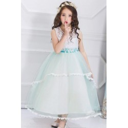Girl Soft Lace Long Dress Evening Dress Green