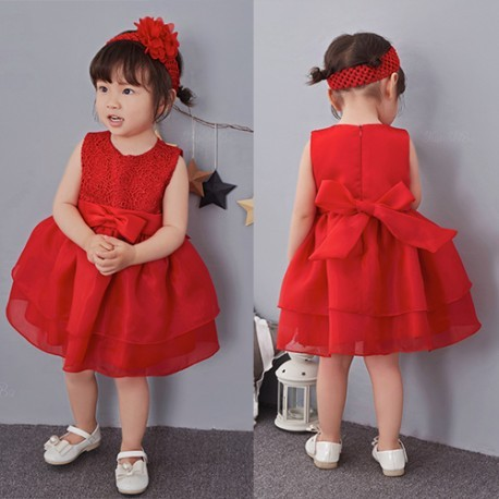 Classic Lace Big Ribbon Baby Dress RED