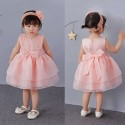 Classic Lace Big Ribbon Baby Dress Peach