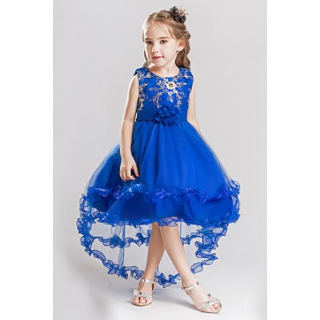 Girl Flower High Low Party Wedding Formal Pageant Dress Blue
