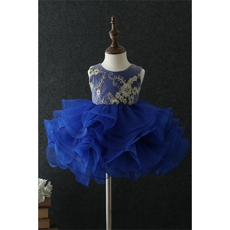 Cutie and Chic Sleeveless Tutu Evening Gown Dress Blue
