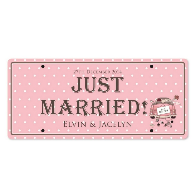 Just Married Personalized Printed Car Plate Just Married