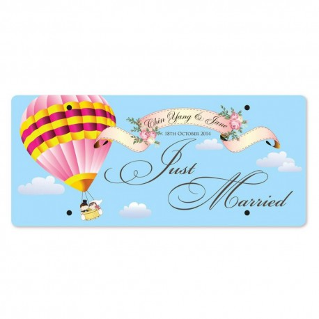 Just Married Personalized Printed Car Plate - Love Is In The Air