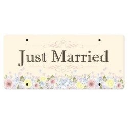 Just Married Personalized Printed Car Plate - Rosey Romance