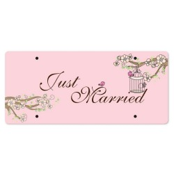 Just Married Personalized Printed Car Plate - Spring Whisper