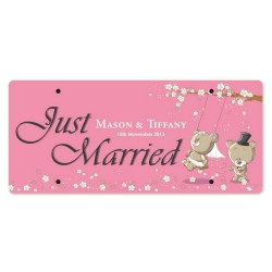 Just Married Personalized Printed Car Plate - Swinging Love