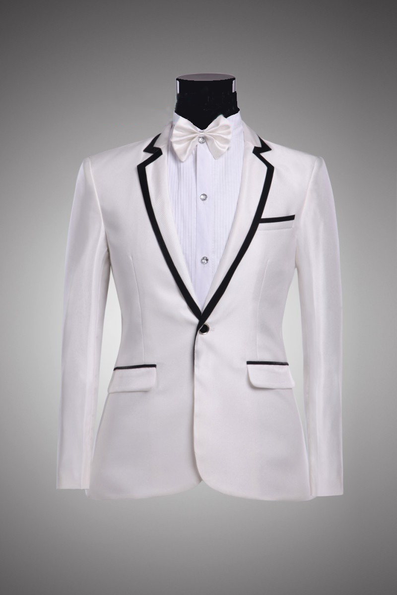 Men S White Color Black Trim Suits Notch Lapel Blazer Pants Groom