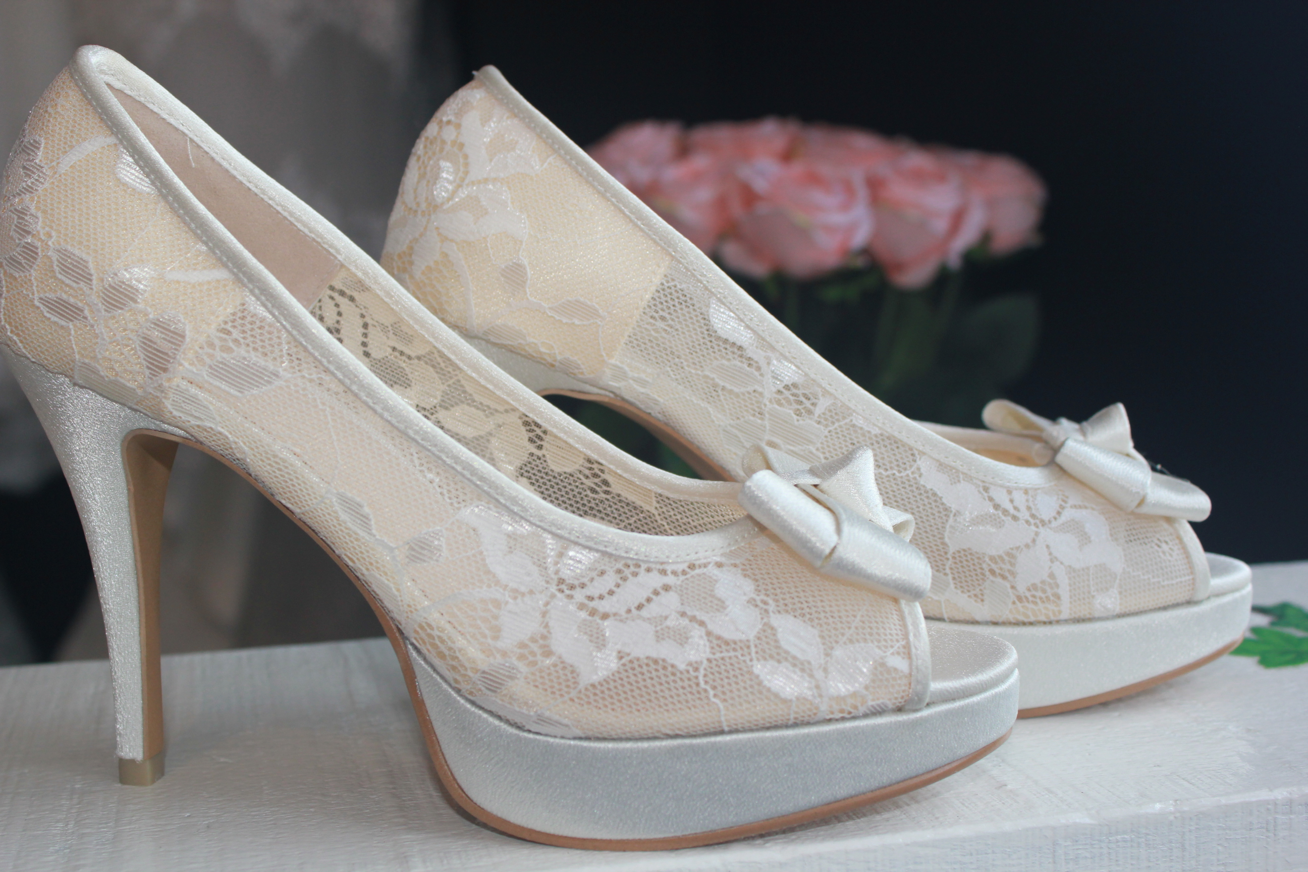 4 Inches Peep Toe With Front Bow / See Through Lace Bridal Shoes