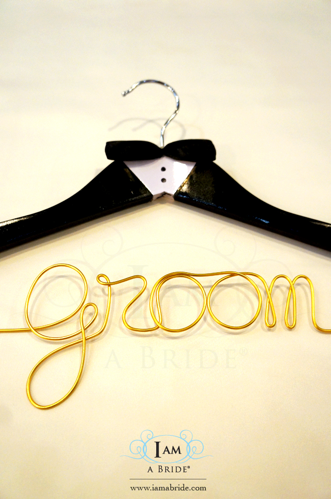 'Groom' Hanger with special painted 'tuxedo' and Balck Satin Bow