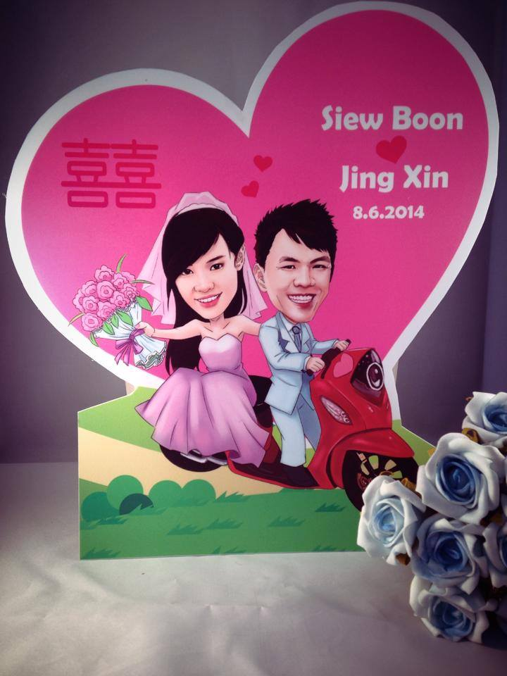 Mobile standee with caricature drawing