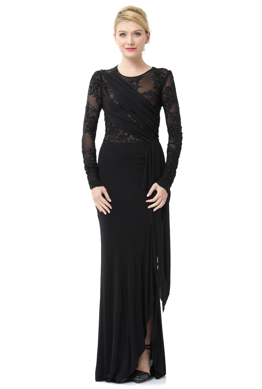 ABS by Allen Schwartz Black Stretch Sequin Embroidered Long Sleeve ...