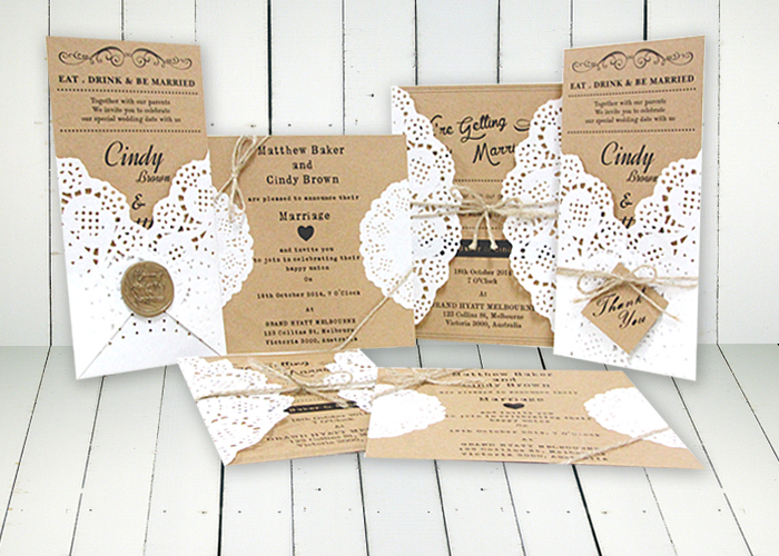 Kraft Invitation With Doily Accessories