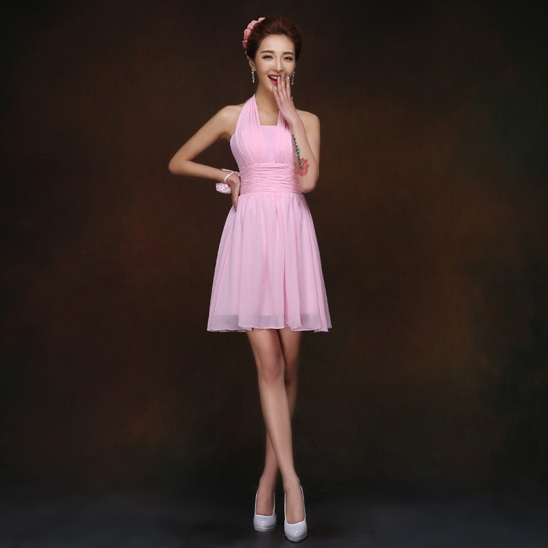 Pink Chiffon Tie Back Bridesmaid Dress